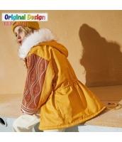 ガーベラレディース ゆったり ミディアム丈 ファー襟 フード付き 中綿入り ジャケット スタンドカラー yj6413-2