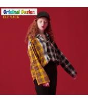 ガーベラレディース ゆったり ストリートファッション 多色入り 格子 スクエアネック シャツ 長袖 yj6525-1