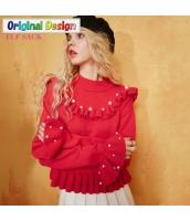 ガーベラレディース 丸首 着やせ ぺプラム裾 ショート丈 ニットウェア セーター 長袖 yj6672-2