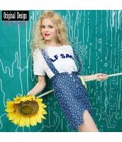 ガーベラレディース アンサンブル Tシャツ・カットソー 半袖 ジャンパースカート 2点セット デニムスカート yj7020-1