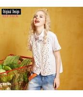 ガーベラレディース シャツ 半袖 ハイロー裾 綿質 夏物 yj8338-1