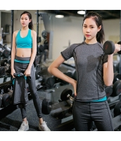 ヨガ フィットネス トレーニング Tシャツ+タンクトップ+重ね着風パンツ3点セット アンサンブル スポーツウェア ピラティス ジム ダンス ランニング シェイプアップ ダイエット yjk7701-3