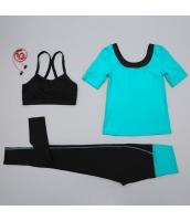 ヨガ フィットネス トレーニング 半袖Tシャツ+タンクトップ+パンツ3点セット アンサンブル スポーツウェア ピラティス ジム ダンス ランニング シェイプアップ ダイエット yjk7704-2