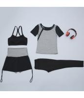 ヨガ フィットネス トレーニング Tシャツ+タンクトップ+長ズボン+ショートパンツ4点セット アンサンブル スポーツウェア ピラティス ジム ダンス ランニング シェイプアップ ダイエット yjk7705-1