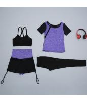 ヨガ フィットネス トレーニング Tシャツ+タンクトップ+長ズボン+ショートパンツ4点セット アンサンブル スポーツウェア ピラティス ジム ダンス ランニング シェイプアップ ダイエット yjk7705-2