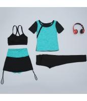 ヨガ フィットネス トレーニング Tシャツ+タンクトップ+長ズボン+ショートパンツ4点セット アンサンブル スポーツウェア ピラティス ジム ダンス ランニング シェイプアップ ダイエット yjk7705-4