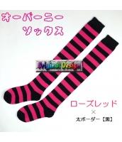 ソックス 靴下 ニーソックス ハイソックス ゴスロリ ロリータ ボーダー 普段使い&コスプレに最適 hw0111-3