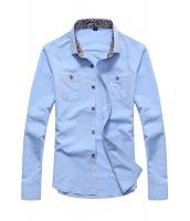 メンズ長袖ペイズリーネックカジュアルシャツ cc14005-3