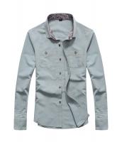 メンズ長袖ペイズリーネックカジュアルシャツ cc14005-6