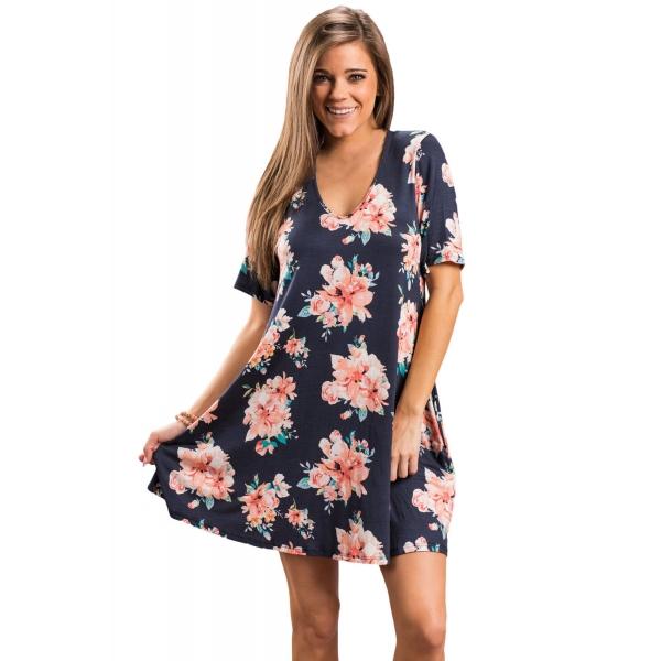 ダークブルー デザインポケット 夏物 花柄 シャツドレス cc220016-105