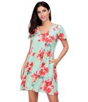 デザインポケット 夏物 花柄 シャツドレス cc220016-3