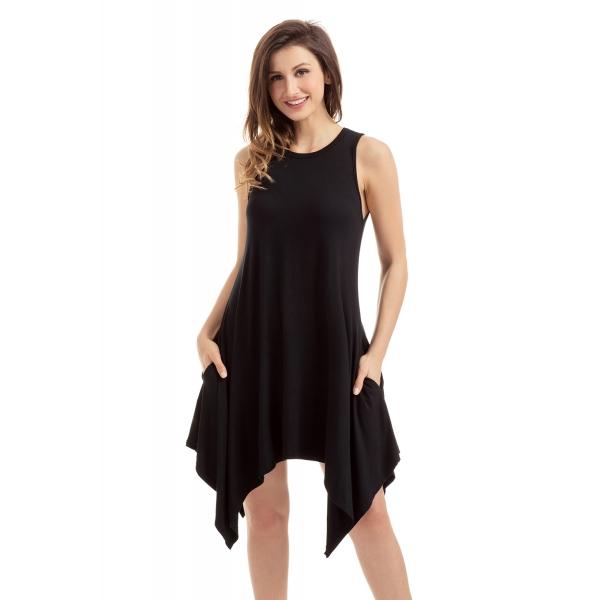 ブラック ドレープ 非対称裾 袖なし ジャージドレス cc220036-2