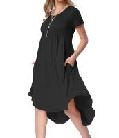 ブラック 半袖 ハイロー プリーツ カジュアル スイング ドレス cc220045-2