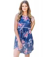 ブルー レース トリム 花柄 自由奔放 ドレス lc220077-5