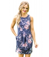 ネイビー 花柄 ノースリーブ・袖なし ショート ドレス lc220079-5