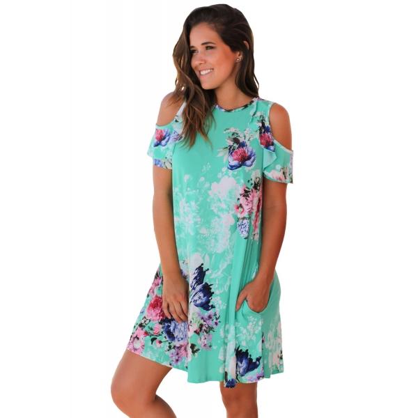 フリル コールドショルダー ミント 花柄 ドレス cc220085-9