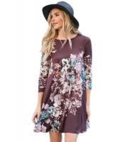 ブラムパープル 花柄 長袖 Aライン チュニック ドレス cc220099-8