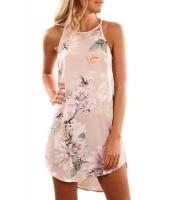 夏物 花柄 ピンク 袖なし ドレス cc220101-10