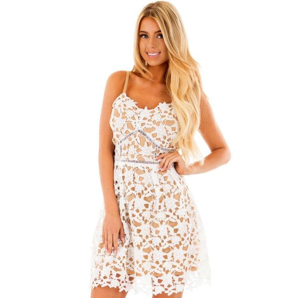 ホワイト 袖なし クローシェ編み ドレス cc220102-1