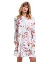 ホワイト 花柄 フード付き ドレス cc220131-1