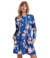 スレートブルー 花柄 フード付き ドレス cc220131-5