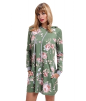 グリーン 花柄 フード付き ドレス cc220131-9
