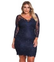 ブルー 大きいサイズ 花柄 レース入り 刺繍入り ドレス cc220134-5