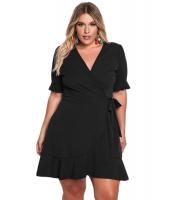ブラック 大きいサイズ フリル サプリス ラップ ドレス cc220175-2
