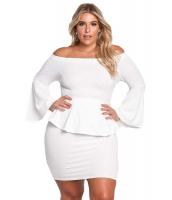ホワイト オフショルダー ベルスリーブ ペプラム 大きいサイズ ドレス cc220189-1