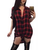 レッド ブラック チェック 半袖 ミディ シャツドレス cc220193-3
