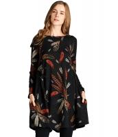 ブラック フェザー グラフィックアート ポケット チュニック ドレス cc220210-2