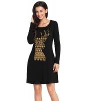 幾何模様 スノーフレーク トナカイ ブラック クリスマス Tシャツ ドレス cc220233-2