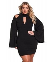 ブラック 大きいサイズ カットアウト ワイド袖 ボディコン ドレス cc220238-2
