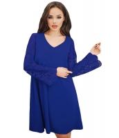 ブルー シーア 花柄袖 スウィング ドレス cc220260-5