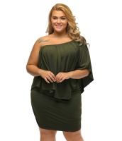 大きいサイズ マルチ ドレス レイヤー アーミー グリーン ミニドレス lc22820-9p