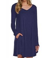 ブルー 長袖 ポケット カジュアル ルーズ Tシャツ ドレス cc22886-5