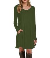 グリーン 長袖 ポケット カジュアル ルーズ Tシャツ ドレス cc22886-9