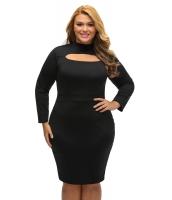 ブラック 長袖 キーホール ボディコン 大きいサイズ ドレス cc22888-2