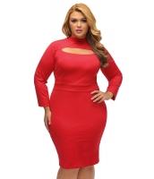 レッド 長袖 キーホール ボディコン 大きいサイズ ドレス cc22888-3