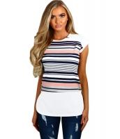 ネイビー & ピンク マルチ ストライプ 女性 Tシャツ lc250097-2