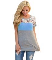 花柄 ブルー グレー パチワーク Tシャツ cc250107-5