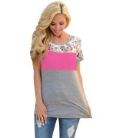 花柄 ばら色 グレー パチワーク Tシャツ cc250107-6