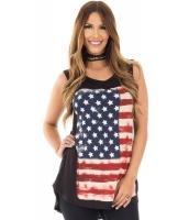 米国旗 プリント ブラック ゆったり タンクトップ cc250108-2