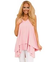 ピンク フリル 非対称 裾周り チュニック タンクトップ lc250111-10