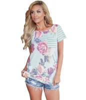 ライト ブルー 花柄 & ストライプ カジュアル Tシャツ lc250131-104