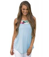ブルー 背中花柄 ハイロー裾 タンクトップ cc250208-4