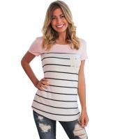 ピンク スプライス ストライプ 半袖 Tシャツ lc250211-10