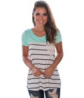 ミント スプライス ストライプ 半袖 Tシャツ lc250211-9