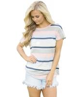 ブルー ストライプ 半袖 Tシャツ lc250230-5