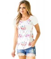 ホワイト 半袖 ポケット 花柄 シャツ cc250271-1